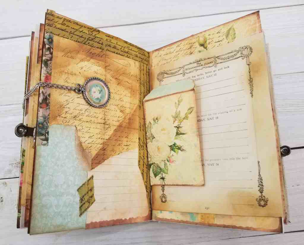 Junk Journal Book Open to Collage Page