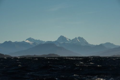 View of distant mountains out over the Beagle Channel