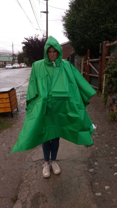 Antie in her bright green poncho