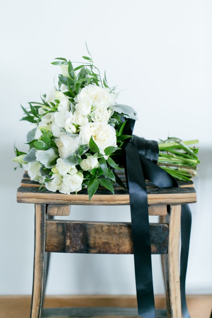 Bridal bouquet with black ribbon by soiree floral design Temecula wedding at wedgewood galway downs wedding venue