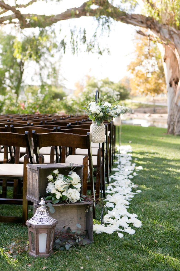 Rustic wedding inspiration with box crates and lanterns at Temecula wedding venue galway downs
