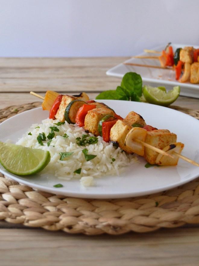 Espetadas de tofu e vegetais // Tofu vegetable skewers
