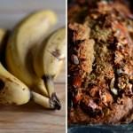 Bolo de banana e aveia coberto de frutos secos