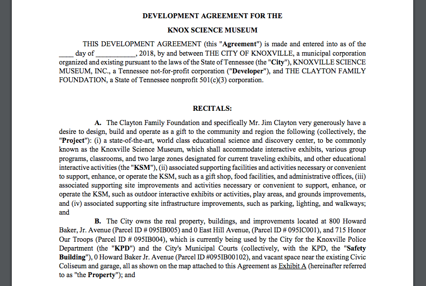 Development agreement