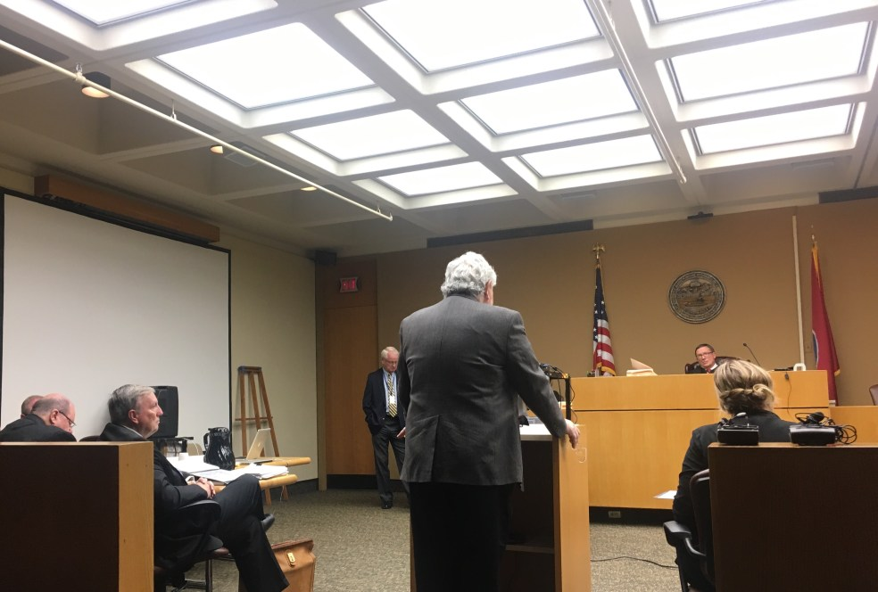 Lawyer Herb Moncier addresses Chancellor John Weaver.