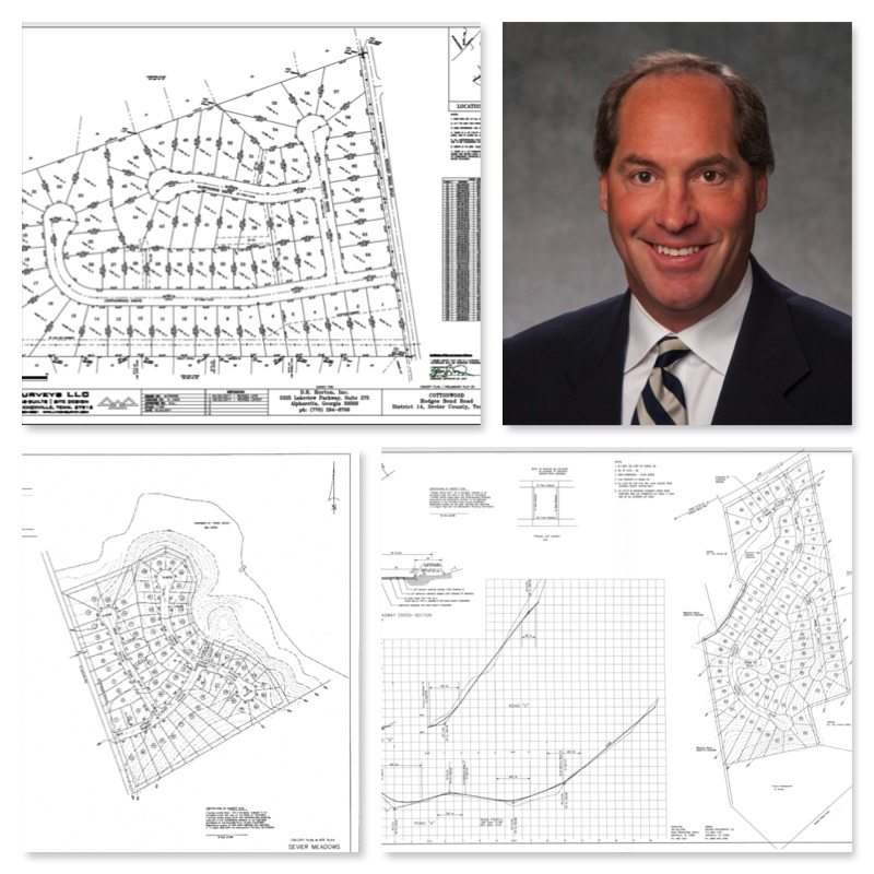 Developer Scott Davis and site plans of some of his current projects.