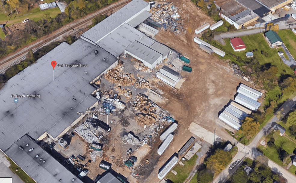 Google Earth photo of recycling facility