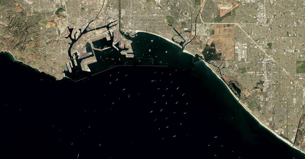 NASA image of ships off the Port of Los Angeles