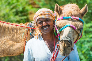 A local man with his friendly camel, Gujarat, India