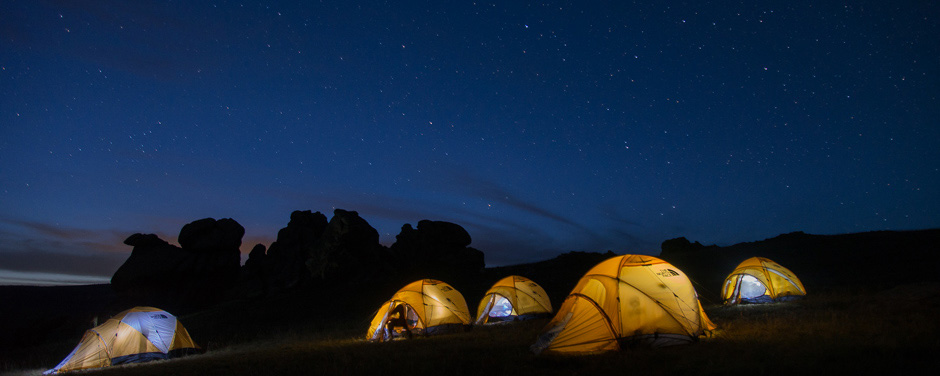 Camping under the stars, grassland steppes, Mongolia