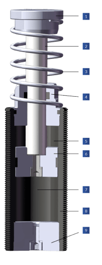 Shock Absorber with Spring