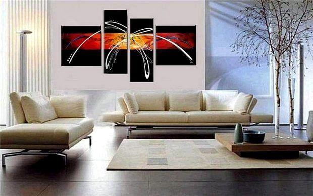Модульная картина в интерьере комнаты