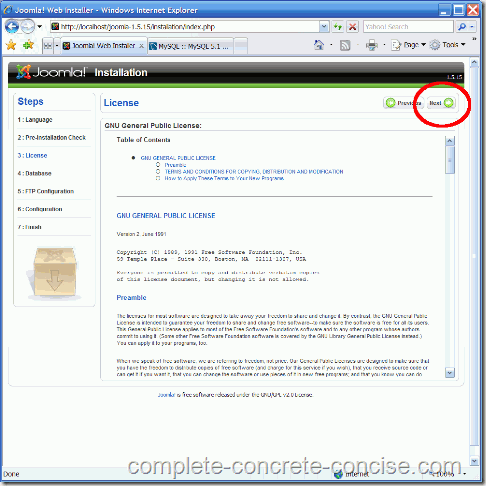 joomla-1.5.15-install-3-gnu-license
