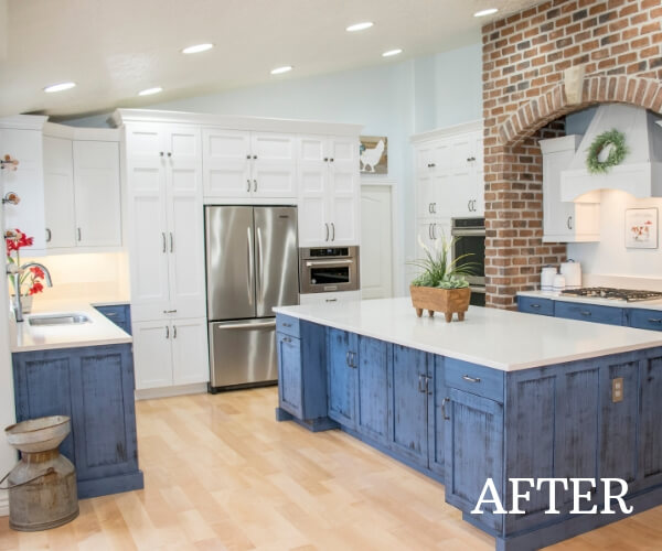 modern blue kitchen after