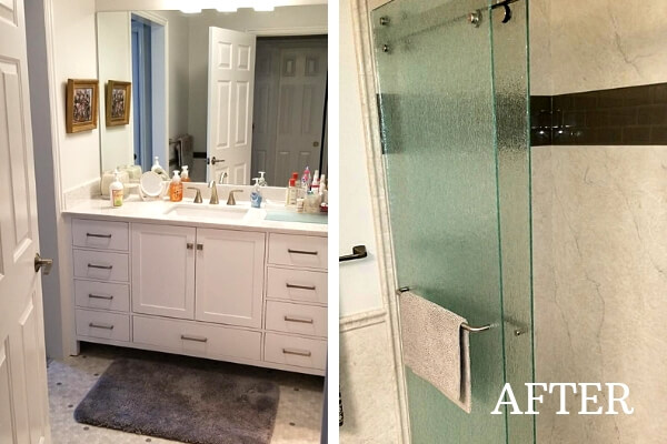 white vanity bathroom remodel after