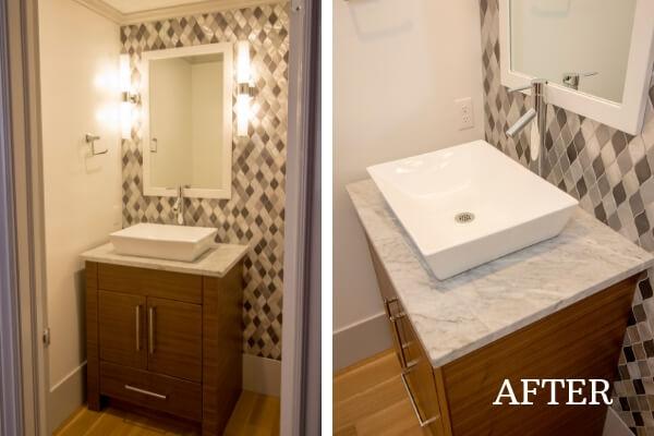 rectangular vessel sink bathroom remodel