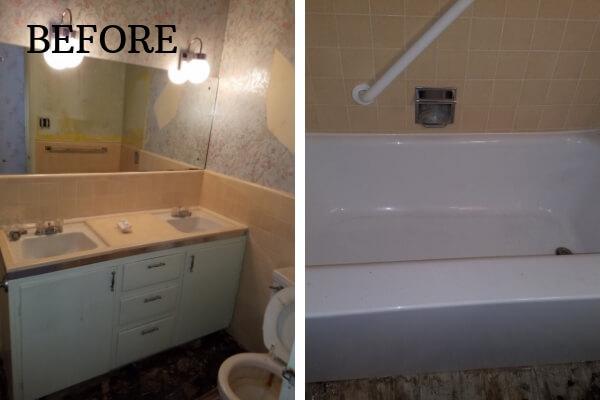 before custom tile bathroom