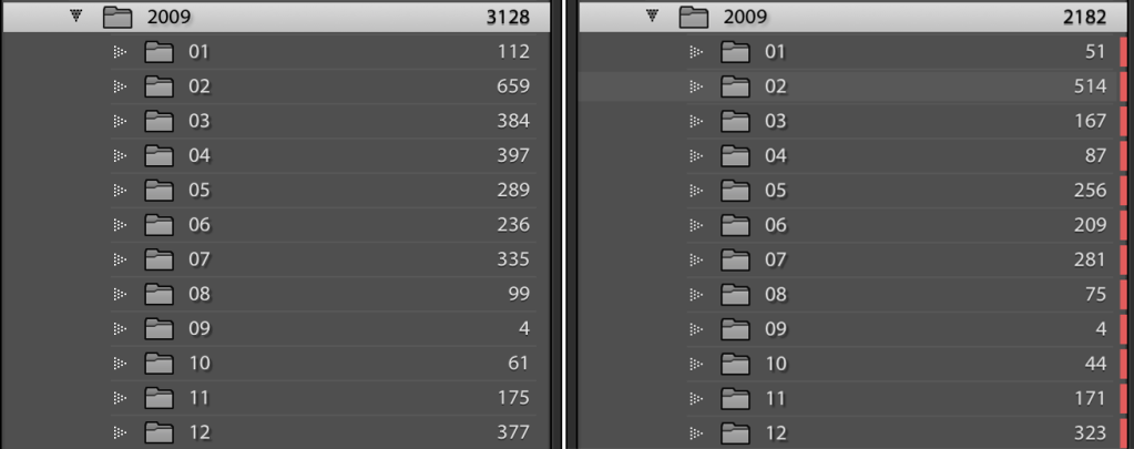 before-after view of the pruning process in Lightroom's Folders view
