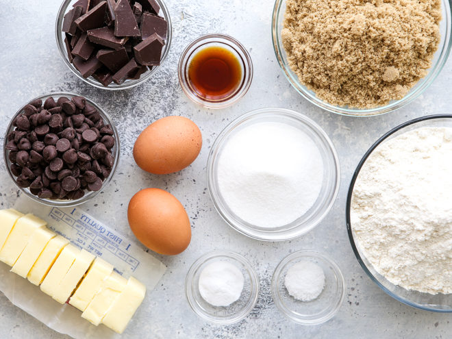 Ingredients needed for chocolate chip cookies