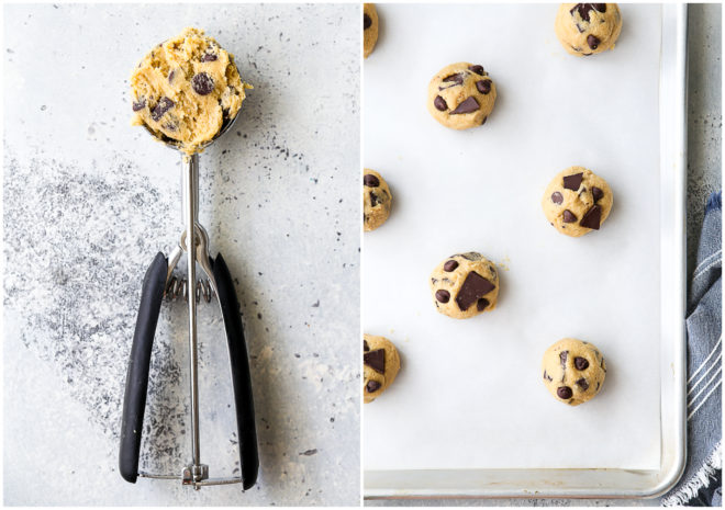 scooping chocolate chip cookie dough