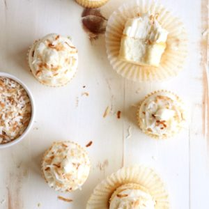 Coconut Cupcakes with Cream Cheese Buttercream | completelydelicious.com