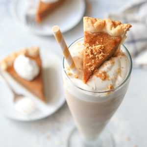 Pumpkin pie milkshake with real pumpkin pie!