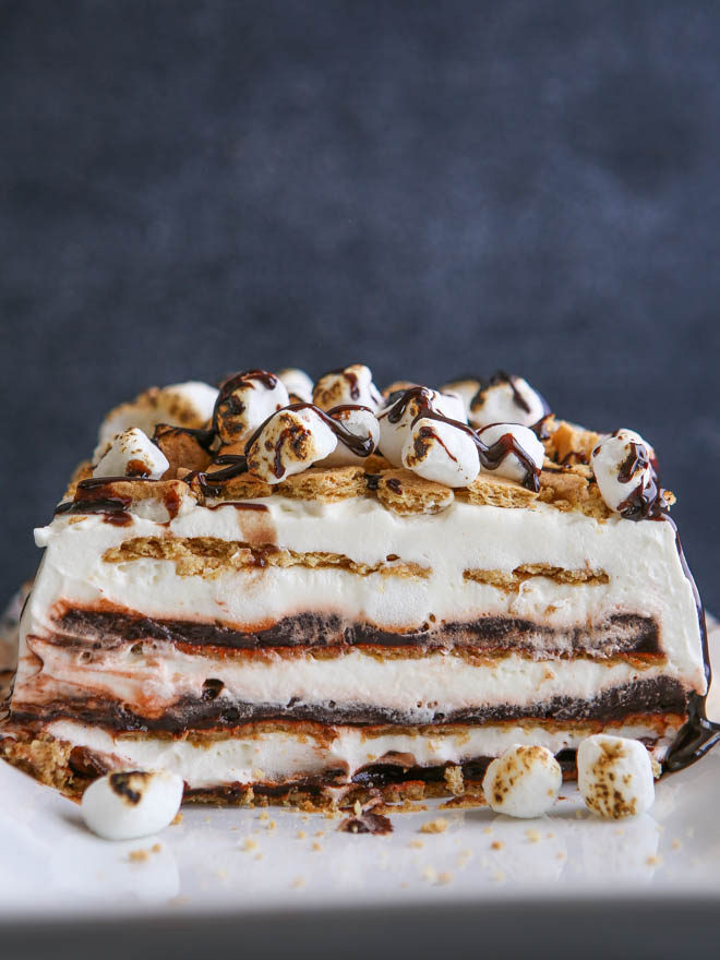 Layers of chocolate pudding, marshmallow whipped cream and graham crackers make up this S'mores Icebox Cake