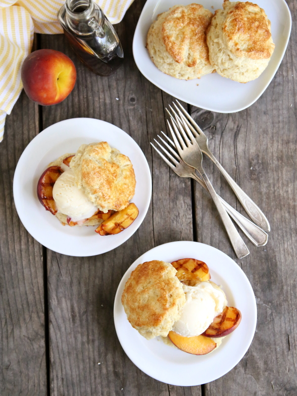Grilled Peach and Ice Cream Shortcakes from completelydelicious.com