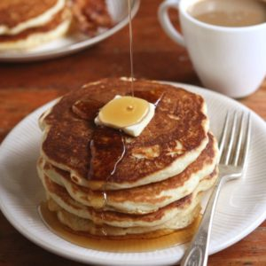 The best buttermilk pancakes - light, fluffy and full of flavor! Find the recipe on completelydelicious.com