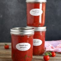 Tomato-Basil Marinara Sauce, perfect for canning! From completelydelicious.com