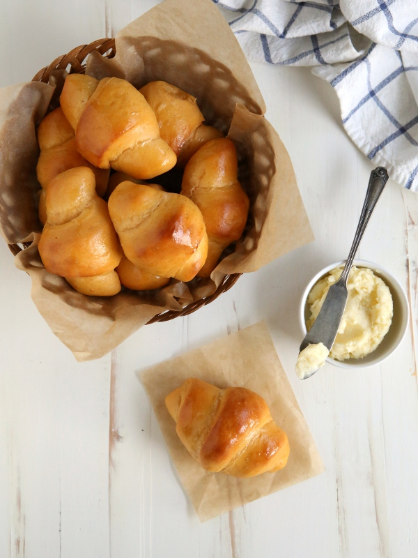 Sweet Potato Crescent Rolls with Whipped Honey Butter from completelydelicious.com
