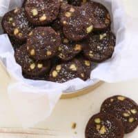 Salted Chocolate Pistachio Cookies | completelydelicious.com