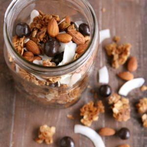 Winter Trail Mix - with granola clusters, toasted coconut and almonds, and chocolate covered berries | completelydelicious.com
