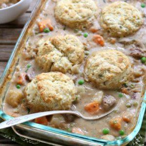 Beef Pot Pie with Herbed Biscuits | completelydelicious.com