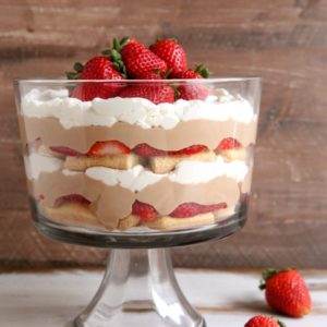 Strawberry Chocolate Tiramisu Trifle | completelydelicious.com