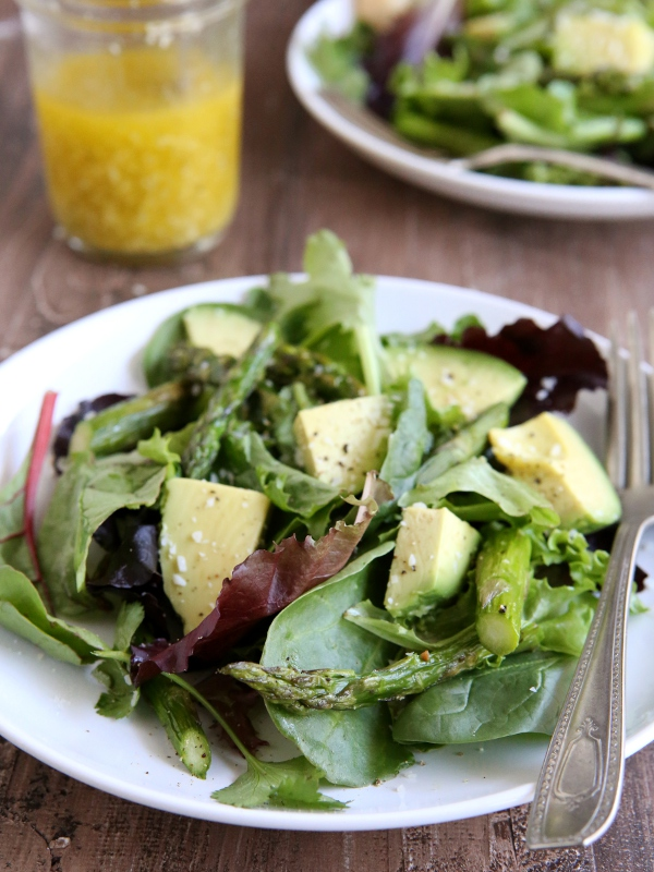 Roasted Asparagus and Avocado Salad with Lemon Vinaigrette | completelydelicious.com