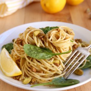 Lemon-Pistachio Spaghetti with Spinach | completelydelcious.com