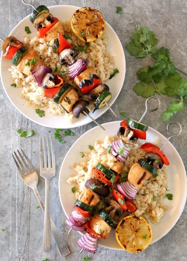 Grilled Lemon-Cilantro Chicken & Veggie Skewers | completelydelicious.com
