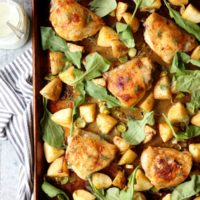 One-Pan Roasted Chicken and Potatoes with Leeks and Arugula | completelydelicious.com