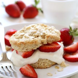 Breakfast Strawberry Shortcakes with heartier biscuits and vanilla yogurt | completelydelicious.com