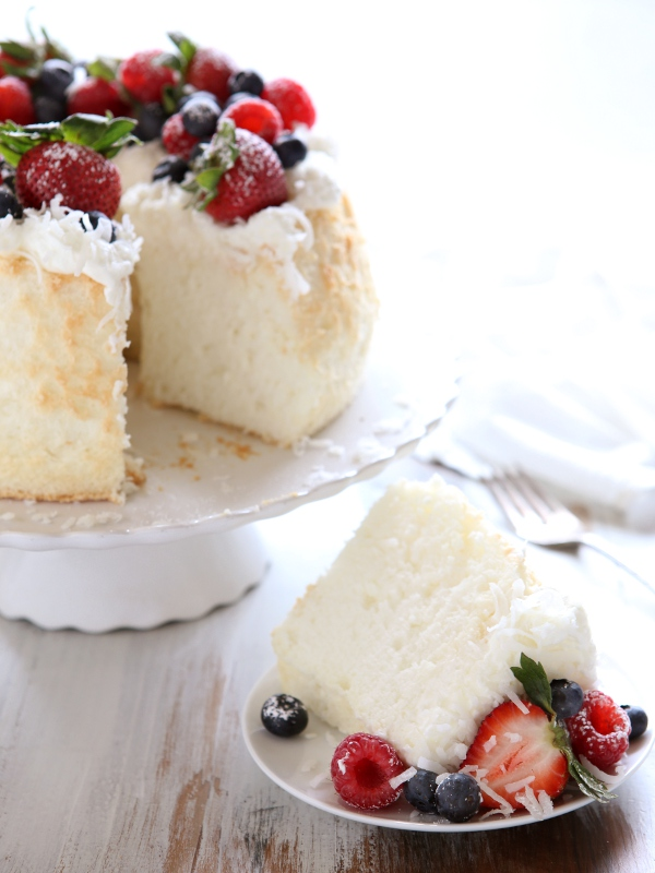 Coconut Angel Food Cake with Berries | completelydelicious.com
