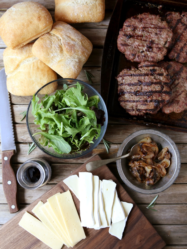 Cherry Rosemary Burgers with Brie, Arugula and Balsamic Glaze | completelydelicious.com