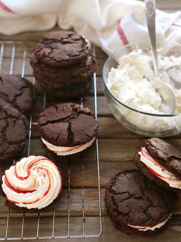 Chocolate Candy Cane Cookie Sandwiches | completelydelicious.com