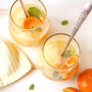 Tangerine Sorbet Champagne Floats | completelydelicious.com
