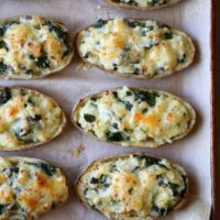 Spinach and Cheddar Twice-Baked Potatoes | completelydelicious.com