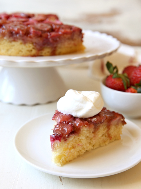 Strawberry Rhubarb Upside-Down Cake | completelydelicious.com