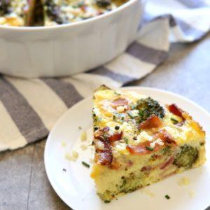 Broccoli and Bacon Crustless Quiche | completelydelicious.com