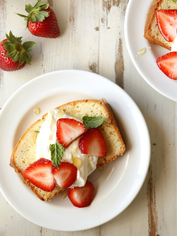 Cream Cheese Pound Cake with Honey Whipped Cream | completelydelicious.com