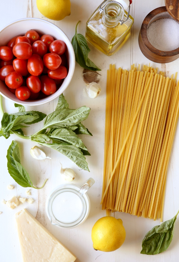 Lemon Pasta with Tomatoes and Basil | completelydelicious.com