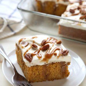 Pumpkin Caramel Poke Cake | completelydelicious.com